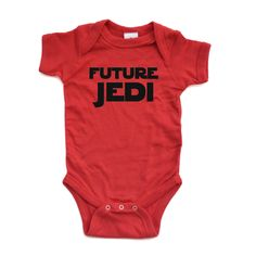 Adorable Future Jedi Soft and Comfy Cute Baby Short Sleeve Cotton Infant Bodysuit (6 Months, Red)