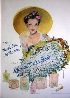 1951 COTY - MUGUET DES BOIS PERFUME, POWDER - THERE'S LOVE IN THE AIR! PRINT AD #Coty