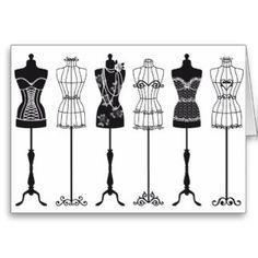 dressform+silhouette | Dress Form Greeting Cards