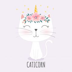 Cute caticorn head with crown Corona Kitten Party, Cat Party, Cat Drawing, Drawing For Kids, Gato Doodle, Dibujos Cute, Cat Room, Cute Gif, Unicorn Cat