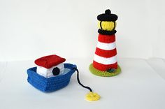 Boat with Lighthouse - Nautical Sea Ocean Theme - Bulk Value Pack - Amigurumi Toy - CROCHET PATTERN No.132