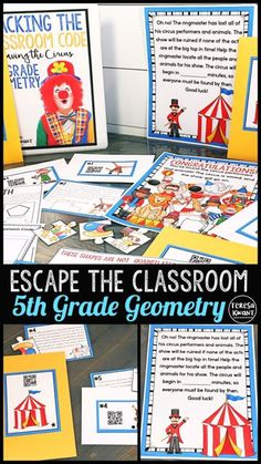 Will your students be able to help save the circus? Try this escape style game with your students, and they will be begging for more! This math game focuses on the Common Core domain of geometry. your 5th grade students will love the challenge to rescue the circus, before disaster occurs! Students will be using problem solving skills, as they solve the string of math clues and problems to save the circus.