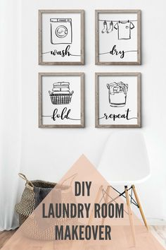 Wash Dry Fold Repeat easy to use printable wall decor. Simple DIY project idea for everybody. Simple Diy, Easy Diy, Wall Decor, Room Decor, Word Art, Printable Wall Art, Fine Art Paper, Laundry Room, Repeat