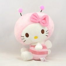 "Sanrio Hello Kitty France Pink Bee Stuffed Toy Plush 7"" 18cm"
