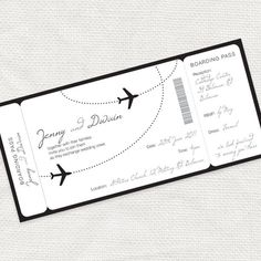come fly with me airplane boarding pass invitation - printable file. $32.00, via Etsy.