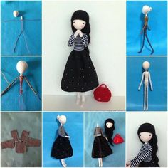 Create this pretty mini doll with wire using fabric scraps or socks for your little girl or room decoration ! What a nice gift idea ! Wire-crafting and doll-making are two skills that go hand in . Softies, Fabric Dolls, Paper Dolls, Fox Fabric, Pattern Fabric, Free Pattern, Peg Doll, Sewing Dolls, Doll Tutorial