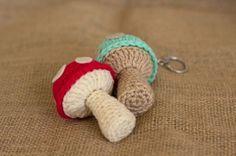 Mushroom Keychain - free crochet pattern from Miss Dolkapots Krafties.