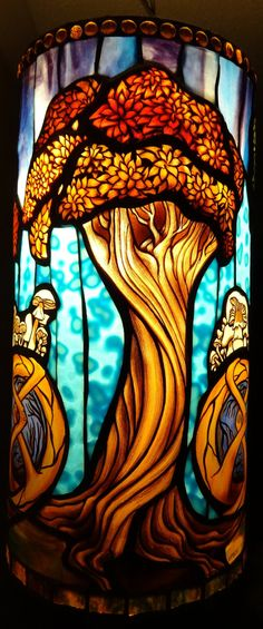 Symbiosis Tree Stained Glass Pendant by Woodlandstainedglass