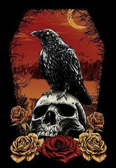 Skull and raven on a moonlight