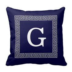 Navy Blue Dark Gray Greek Key #1 Framed Monogram Throw Pillows