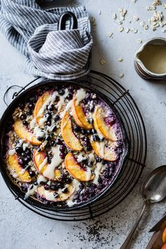 Baked oatmeal with peaches and berries