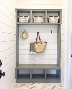Cottonstem Farmhouse Style Mud Room Shiplap Market Basket Hall Trees