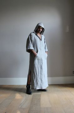 Ash-grey hooded caftan. Pure soft pre washed wrinkled by YUMEworld