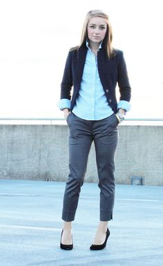 Model Gray Blazer Khaki Pants Khakis Black Shoes Black