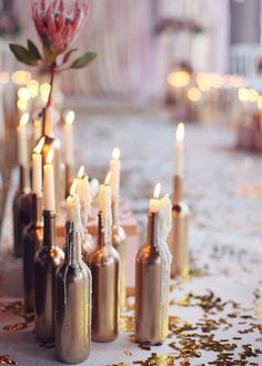 gold party images, image search, & inspiration to browse every day. Wedding Centerpieces, Wedding Table, Diy Wedding, Wedding Decorations, Wedding Day, Dream Wedding, Winter Wedding Colors, Wedding Bottles, Romantic Evening