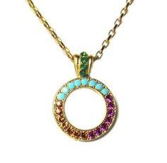 Mariana Gold Plated Happy Days Swarovski Crystal Circle Pendant Necklace