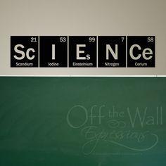 Ciencia pared calcomanía - tabla periódica - elementos etiqueta del vinilo pared arte - decoración de aula