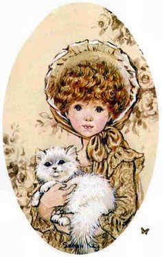 Sarah Kay a grandit Sarah Key, Decoupage Vintage, Decoupage Paper, Crazy Cat Lady, Susan Wheeler, Holly Hobbie, Cute Images, Illustrations, Cute Illustration