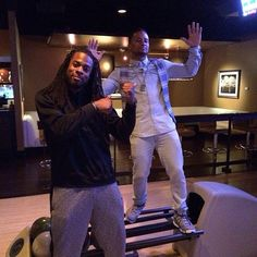 Earl Thomas and Richard Sherman celebrating after Sherman signed on with Seattle for another 4 years. Seahawks Football, Seattle Seahawks, Earl Thomas, Richard Sherman, Good People, Celebrities, 4 Years, Mickey Mouse, Fans