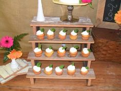 Items similar to 4 Tiered Dessert Stand Cake Wedding Party Custom Design Fall Reception Bar Bottle Holder Shelf on Etsy Rustic Cupcake Display, Wood Cupcake Stand, Rustic Cupcakes, Cookie Display, Cupcake Table, Soap Display, Fall Wedding Cupcakes, Fall Wedding Decorations, Wedding Cakes