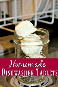 Save your money and skip the expensive store bought dish tablets! These homemade dishwasher tablets are my favorite homemade cleaner recipe! Simple, easy and cheap to make!