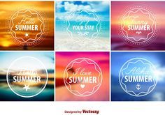 Set of emblems and stamps for Summer Season in blurred vector backgrounds.