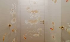 Modern chinoiserie 'POND' design from Misha wallpaper, hand painted on Silver hand painted silk.