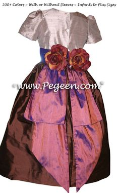 Jim Hjelm Matching Flower Girl Dresses in Raisin Style 383 by Pegeen