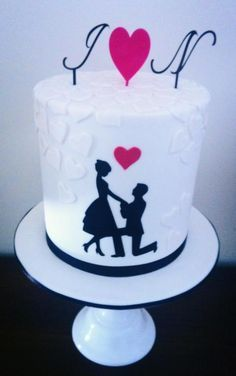 simple engagement cake designs - Google Search