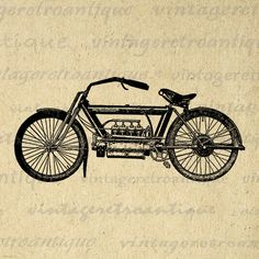 Antique Motorcycle Printable Digital Graphic Image Download Vintage Clip Art Jpg Png Eps 18x18 HQ 300dpi No.3415 @ vintageretroantique.etsy.com