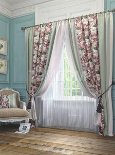 """Комплект штор """"Орга (розово-зеленый)"""": купить комплект штор в интернет-магазине ТОМДОМ #томдом #curtains #шторы #interior #дизайнинтерьера"""