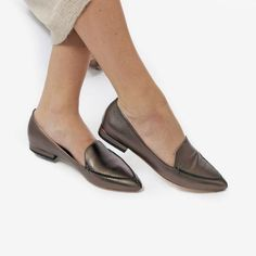 3038eacae0a The Classic Loafer - metallic grey leather womens pointed toe flat - Poppy  Barley Pointed Toe
