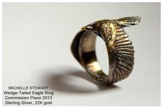 Sterling Silver & 22k Gold Eagle ring Michelle Stewart