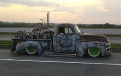 two Harleys, one truck