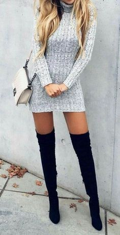 #winter #outfits gray knitted mini dress #casualwinteroutfit