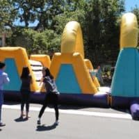 This is an obstacle course, covered in velcro. Guests wear a velcro jumpsuit as they try to complete the challenge. Paper Table, Catering Menu, Company Picnic, Obstacle Course, Picnic Time, Casual Wedding, Table Covers, Bay Area, Jumpsuit