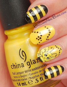 10 Cute Nail Art Designs to try in 2015 Fancy Nails, Love Nails, Diy Nails, Pedicure Nails, Spring Nails, Summer Nails, Bumble Bee Nails, Bumble Bees, Maya Art