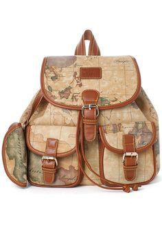 Map Print Backpack so cute!