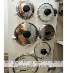 Simple Storage for Pot Lids - DIY Small Apartment Decorating on a Budget - Click . - Nenin Decor S Diy Organizer, Kitchen Organization, Organization Hacks, Organizing Ideas, Small Apartment Organization, Apartment Decorating On A Budget, Apartment Ideas, Decorating Small Apartments, Small Apartment Hacks