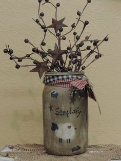 country crafts Creative Country Kitchen Decoration Ideas Using Mason Jars Primitive Christmas, Primitive Crafts, Country Primitive, Christmas Crafts, Country Christmas, Wood Crafts, Primitive Sheep, Primitive Decorations, Primitive Quilts