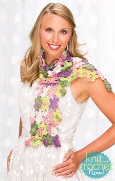 Free Crochet Pattern Download -- This Flower Fall Scarf, design from Premier Yarns Design Team, is featured in episode 402 of Knit and Crochet Now! TV. Learn more here: www.knitandcrochetnow.com