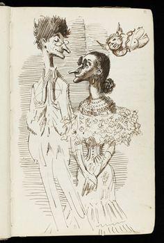 Mervyn Peake's drawing of Prunesquallors, Gormenghast notebook