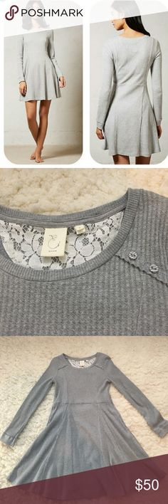 """Anthropologie """"Eloise"""" Grey Chiara Waffle Dress Eloise """"Chiara"""" dress in a size Small. Beautiful light gray Knit with a lace trim. In excellent pre owned condition! Sold out from Anthropologie. 35"""" long, 18"""" across bust. Featuring the cutest little grey buttons! Anthropologie Dresses"""
