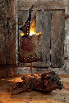 Lampe animal métal et bois