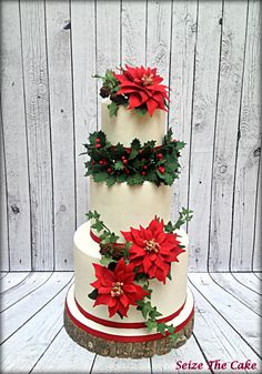 Poinsettias Christmas Cake - Cake by Seize The Cake