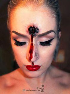 Gunshot wound Halloween makeup