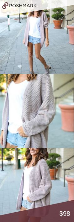 """Foggy Morning Cardigan - Mauve This cardigan has us feeling the moodiness of Fall and Winter skies. It's time to bring on the layers for the upcoming chilly days ahead! We love our Foggy Morning Cardigan. A staple that has a relaxed wear with an open neckline and thick knit feel. Paired with our Venice Racerback Tank, McEntire Shorts and Kimi Peep Toe Bootie.  Open Neckline Long Sleeve Not Lined Size Small: 28.5"""" from shoulder to hemline 55% Acrylic and 45% Cotton Model is 5'4"""" and wears a…"""