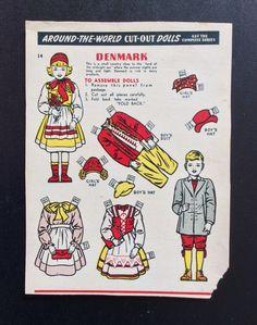 Kellogg's Krumbles Cereal Paper Dolls, 1940's, Around The World, Denmark, #14 | eBay