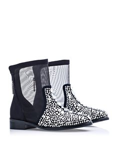 Kylie black leather & mesh boots Sale - Kandee