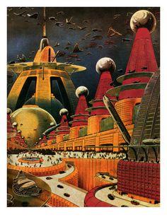 Sci Fi - Future Atomic City (1942) / By Frank R. Paul / Tags: #Art #Vintage #RetroFuture  #SciFi